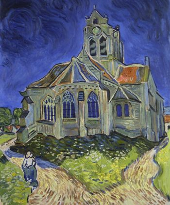 Reproduction tableau de van gogh, l'église d'auvers