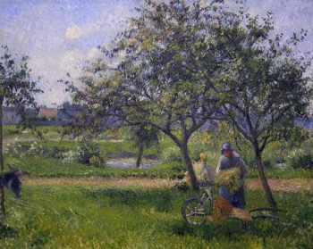 Reproduction tableau de Camille pissaro, le verger, la brouette